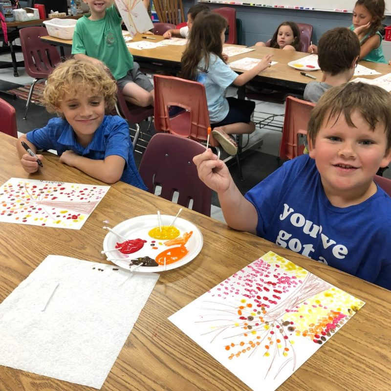 1st grade students, John Michael Bloodsworth and John Michael Roberts, during their weekly art lesson.
